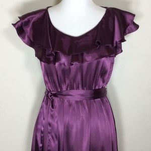 Fierce Mamas Elastic Waist Ruffle Top Satiny Dress